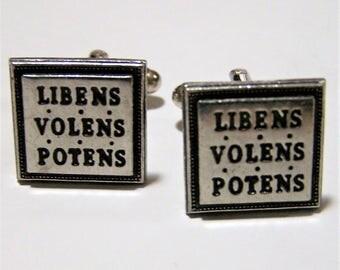 Mens Cuff Links, Libens Volens Potens, Ready Willing Able, Mid Century Cufflinks,  Silver Tone, Black Enamel, Vintage Mens Jewellery 317dz