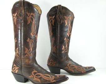 vintage cowboy boots womens 7 m b brown western embroidered point toe
