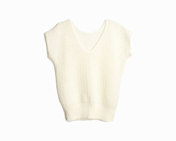 Vintage Cream Cap Sleeve Sweater / Ivory Knit Top - women's small