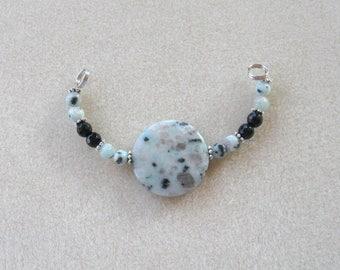 Sesame Jasper, Black Jade,  DIY Jewelry Kit,  Focal Beads, Gemstone Beads, Jewelry Making Beads, Beaded Centerpiece, Crafts