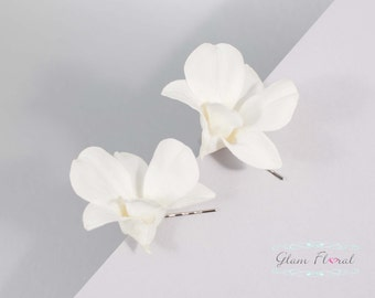 White Orchid Hair Clip Bobby Pins . Cream White, Creme Dendrobium Orchids, Bridal Wedding Flowers, Orchid Fascinators. Orchid Collection