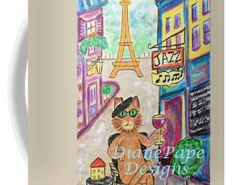 NEW!! Jazz Cat 15 oz. Ceramic Mug - Coffee Mug, Tea Mug, Souvenir, Wine, Cat or Jazz Lover, His or Her Gifts, Eiffel Tower, Paris, France