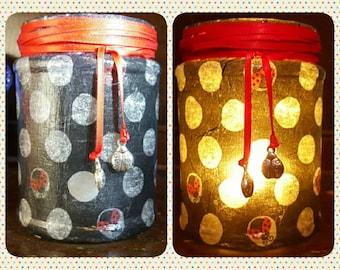 Jar Lamp, Polka Dot, Ladybird, Ladybug, Upcycled Jar, Decoupage, recycled, rustic, chic, pen holder, black and white, night light