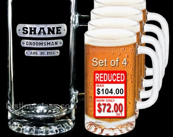 Gift for Groomsmen - Set of 4 TRI-BAR Etched Glass BEER Mugs for Best Man Ushers Father of the Bride Groom - Ships to Canada