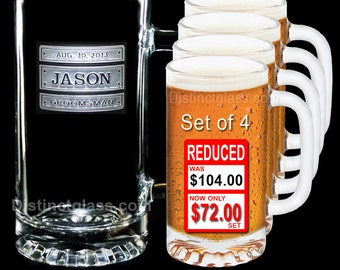 Gifts for Groomsmen - Set of 4 TRIPLE PLATE BEER Mugs - 16 oz Etched Glass Wedding Beer Mugs by Distinct Glass Studio - Ships to Canada