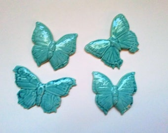 4 handmade Butterfly tiles, mosaic ceramic tiles