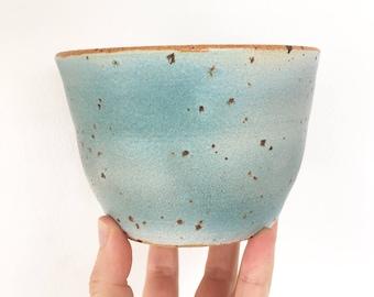 Matcha green tea bowl, Shawan bowl, Speckled bowl, Handmade tea bowl, Danish unique bowl, Breakfast bowl Farmhouse style green blue Gift