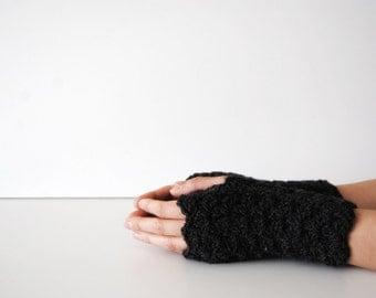 Dark grey fingerless gloves, crocheted, handmade, ready to ship