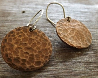 Textured Copper Coin Earrings, Hammered Copper Coin Earrings, Copper Earrings on Etsy.