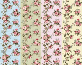 Dolls House Wallpaper 1/12th or 1/24th scale Choice of Blue Pink Green Cream Roses