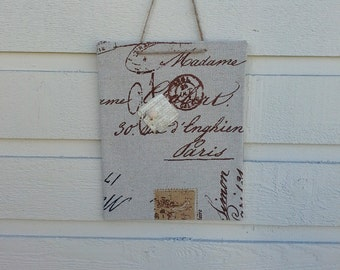 Magnet Board, mini memo board - French Script upholstery fabric with words and images for photo and memo display, hangs with jute twine