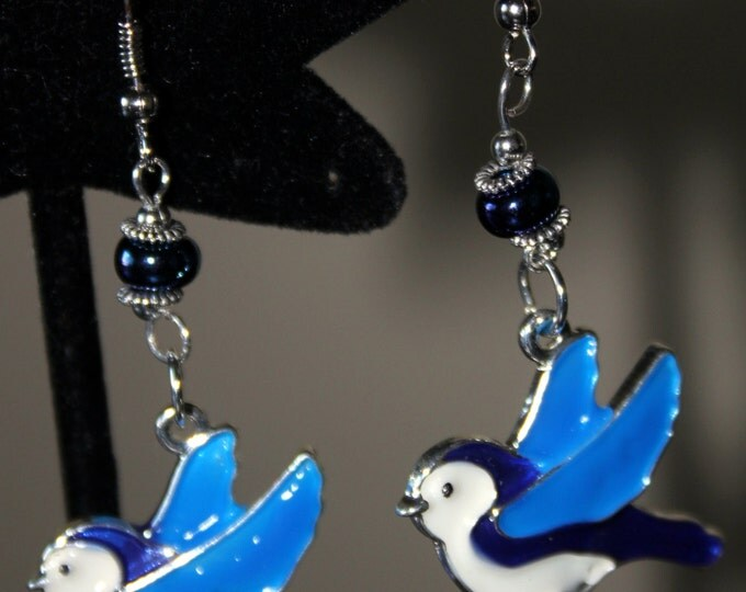 Hand Enameled Blue Bird or Chickadee or Gold Finch Earrings
