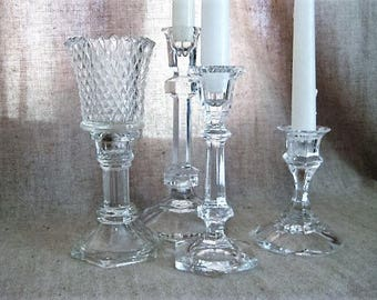 Glass Candle Holder with Retro Glass Votive / Retro Glass Candlestick Holder