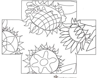 """Sunflowers Design by Kim Nixon - footstool pattern for """"our"""" Queen Anne Footstool base"""