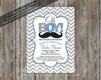 "Baby Shower invitations - Digital file ""Blue Moustache Baby"" design"