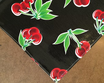 Rectangle Cherry Black Oilcloth Tablecloth with a Simple Hem