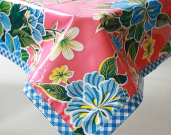 Square Hawaii Pink with Blue Gingham Trim Oilcloth Tablecloths