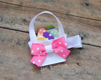 Easter basket of eggs hair clip, hair bow, spring time, Easter, pastel colors