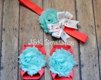 Aqua and Coral barefoot sandals and headband set, shabby flowers, arrows, feet, sandals, baby, infant
