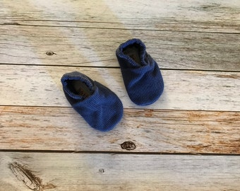 Blue Corduroy Baby Shoes  - Size 3-6 Months