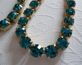6mm Blue Rhinestone Chain in Brass - Blue Zircon Czech Crystals - Large Crystal Size 6mm 29SS in Brass Setting