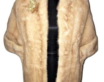 Vintage 1950s Blonde MINK Shawl Shrug Cape ~ Owner's Name Embroidered
