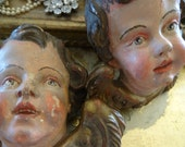 RESERVED FOR KIM Vintage Pair Fabulous Wood Carved Cherub Angel Heads Italian French