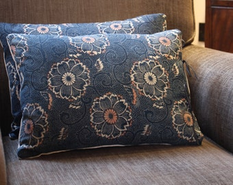 Pillow Cushion Cover  Vintage Indigo Japanese Katazome Fabric14 x18 inch 35 x 45cm . Handmade with Passion