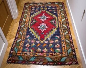 Vintage Hand Woven Wool Carpet. Bright Modern Colours. Bedside Rug. Hall Carpet.