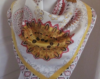 """Lovely White  Yellow Silky Acetate Scarf  // 30"""" Inch 76cm Square"""