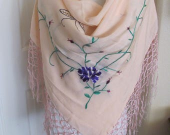 "Beautiful Large Pink Embroidered Silk Fringe Shawl Wrap or Scarf - 40"" Inch 102cm Square"