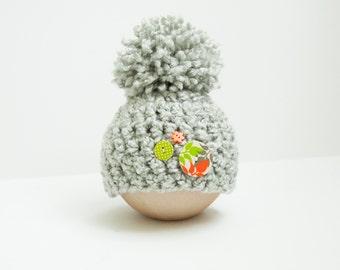 Newborn Boy Pom Beanie Hat Gray Button RTS Baby Photo Prop