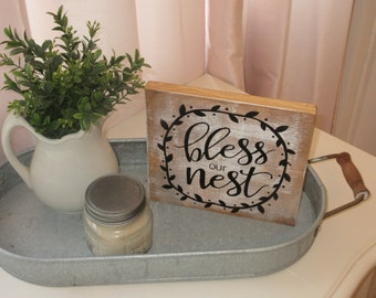 Hand Painted Wood Sign Bless Our Nest