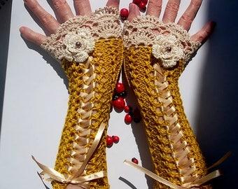 CROCHET GLOVES CUFFS  Victorian Fingerless Summer Women Wedding Lace Evening Retro Accessories Bridal Party Mustard Corset Boho Cotton B27