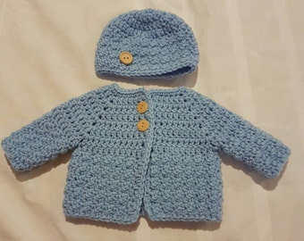 Crocheted Newborn Baby Blue Sweater and Hat  Ready to Ship