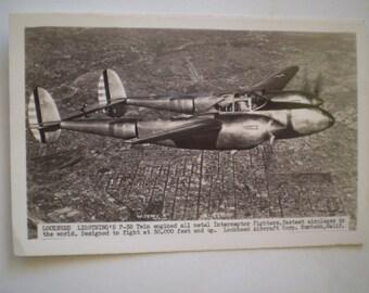 orig Military RPPC WW2 Lockeed Lightning P-38 photo postcard circa 1945