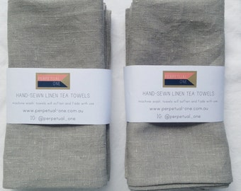 reserved listing for shiften - 2 sets linen tea towels - grey with black tab - pair