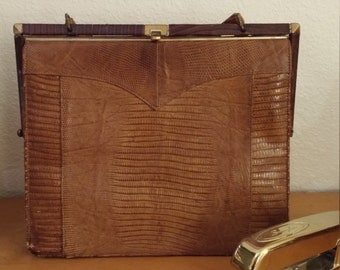 Beautiful vintage clutch purse, alligator leather