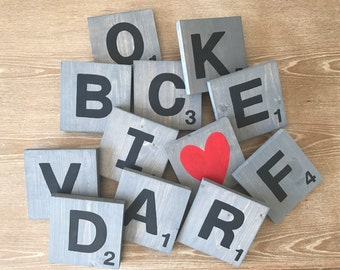 Made to order large rustic scrabble tiles