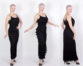 THE BEST 1950's Custom Made Showgirl Inky Black Fully Fringed Extreme Hourglass Evening Gown - 20 Rows of Fringe - Rhinestone Straps - L