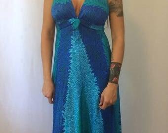 Vintage Maxi Swim Dress - 1970's Swimming Dress - Blue Aqua Green Long Maxidress Ladies Small
