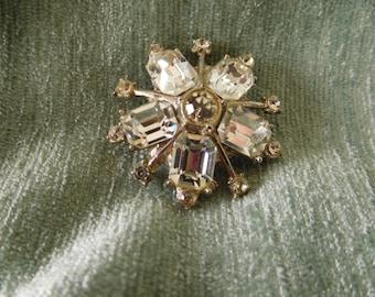 Vintage Clear Rhinestone Brooch Pin