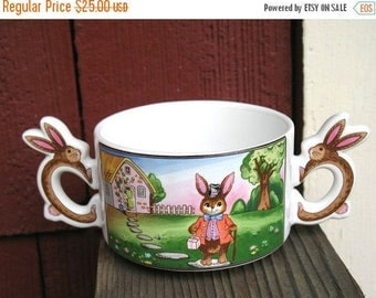 DEAD STOCK Never Used In Box Circa 1988 Amazing Bunny Love Country Rabbit Soup Bowl Cereal Bowl Made in Japan