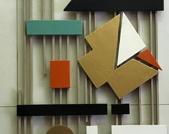 Vintage 50s Abstract Shapes Wood Wall Hanging Retro Art Mid Century Modern Googie Fifties