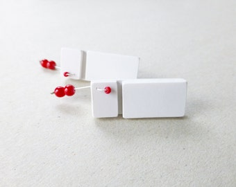 white red geometric post earrings, minimalist architectural post earrings, contemporary jewelry