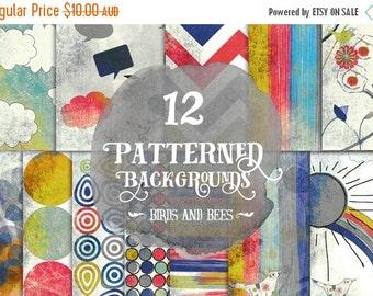 "80% Off SALE Digital Paper Pack - - Textured Birds - 12"" x 12"" for Background, Scrapbooking, ..."