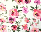 Pink Coral Purple Green and Ivory Floral Rayon Spandex Jersey Knit Fabric, 1 Yard