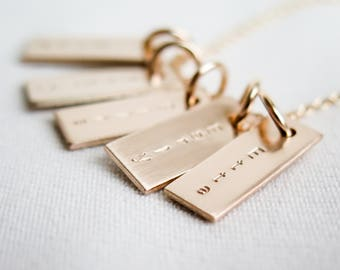 Tiny Gold Name Necklace 14k Gold Fill Rectangles Necklace Personalized Custom Made Delicate Small Hand Stamped by Betsy Farmer Designs