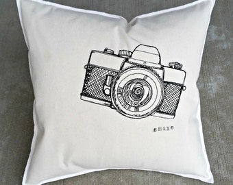 Vintage Camera Smile Embroidered Pillow