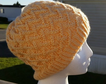 Fashionable Hand Knit Cafe Au Lait Tam, Hat, Slouch, Beanie, Knitted Winter Hat, Durable Wool Hat, Warm and Cozy